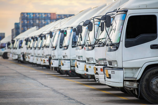 A row of trucks ready to be financed.